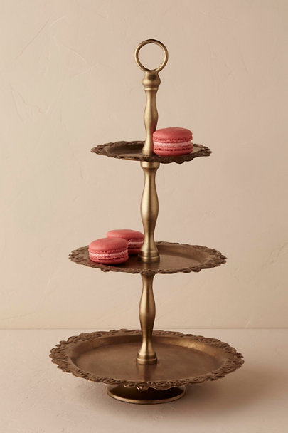 Gold Three-Tiered Antique Brass Tray | BHLDN