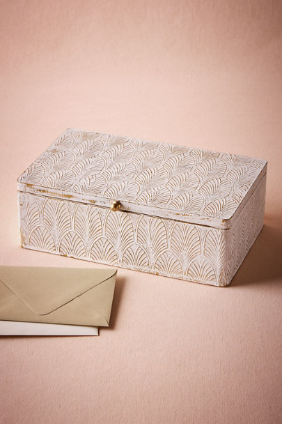 White Gilded Mosaic Box | BHLDN