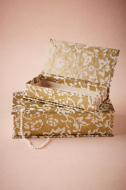 Gold Gilded Garden Jewelry Boxes (2) | BHLDN