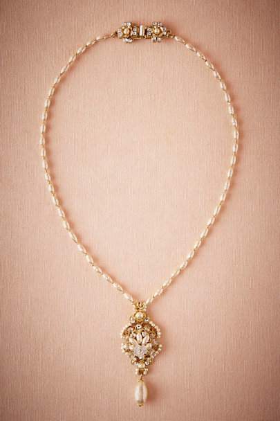 Miriam Haskell Gold Pearl Drop Pendant Necklace | BHLDN