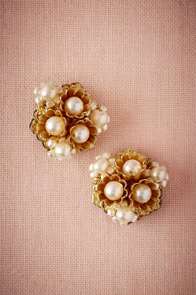 Miriam Haskell Gold Lustrous Buds Earrings | BHLDN
