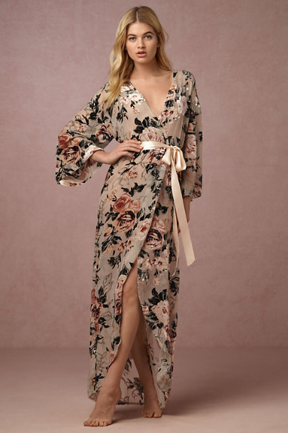 James Coviello Rose Laurie Velvet Robe | BHLDN