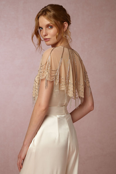 Moyna Nude/Silver Trickling Capelet | BHLDN