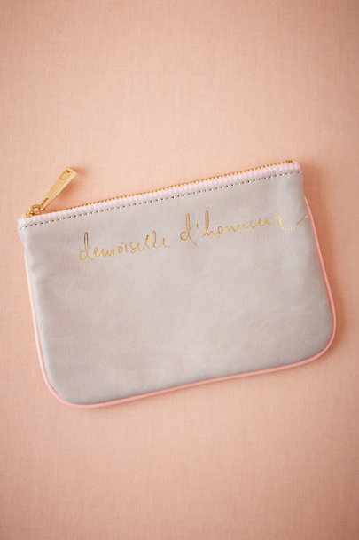 Grey Scripted Bridesmaid Pouch | BHLDN