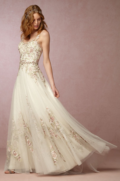 White Blushed & Beaded Sash | BHLDN