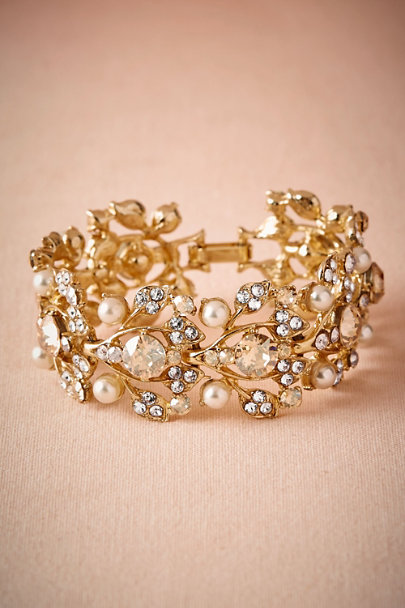 Gold Gilded Leaf Bangle | BHLDN