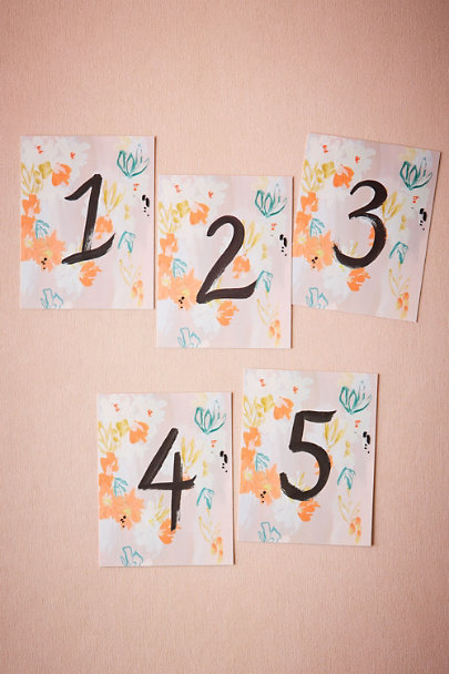 Creme Brushed Blooms Table Numbers (5) | BHLDN