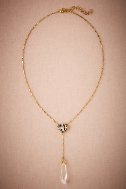 Elizabeth Cole Gold Crystal Lacrame Necklace | BHLDN