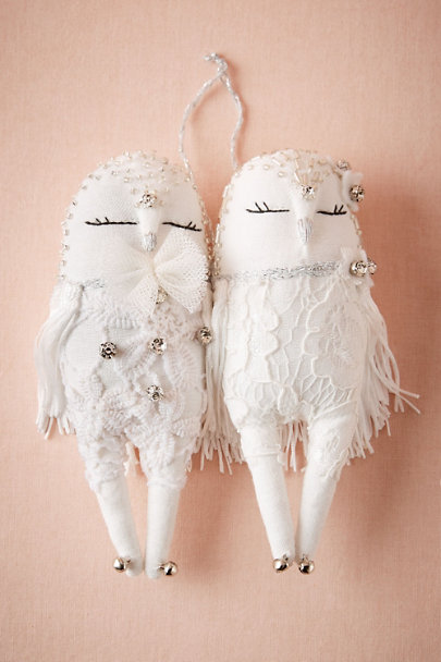 Alice Mary Lynch White Sleeping Owls Ornament | BHLDN