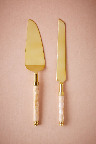 Gold Mother of Pearl Cake Servers (2) | BHLDN