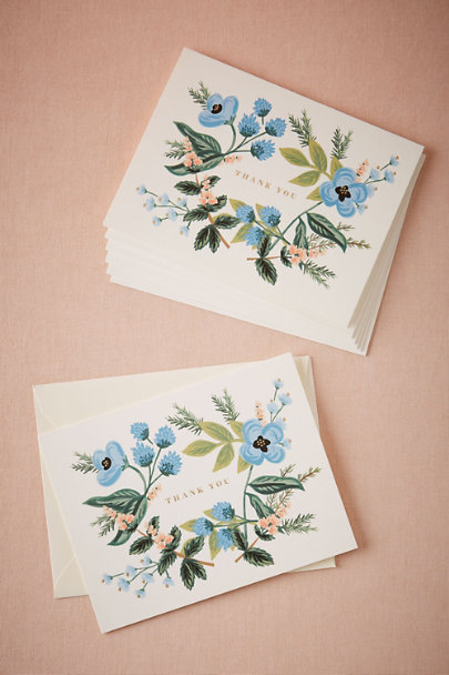 Rifle Paper Co. White Blue Blooms Floral Thank You Cards (8) | BHLDN