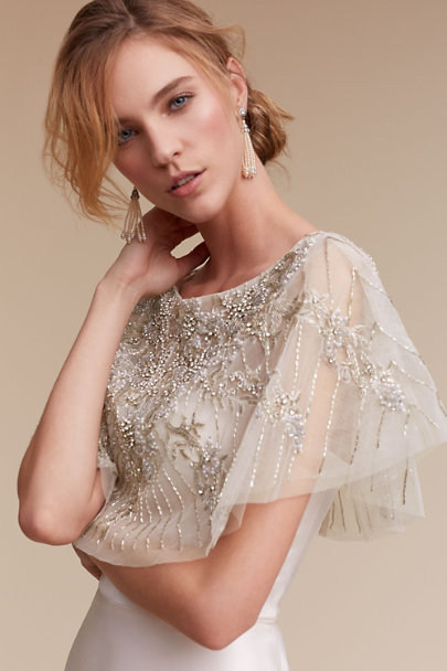 Lotus Threads Ivory/Silver Althea Cape | BHLDN
