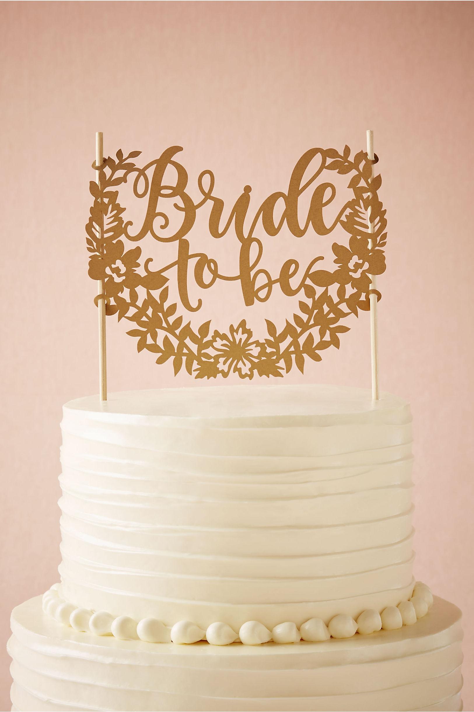 gold bride to be cake topper bhldn - Cake Decor