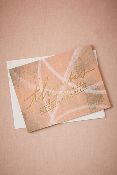 Rose Brushstroke Thank You Card | BHLDN