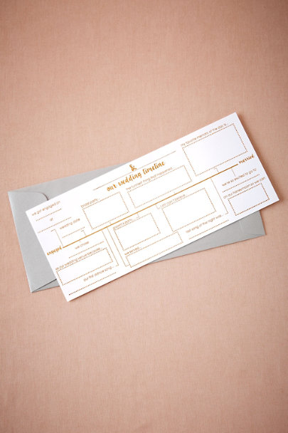 White Gilt Wedding Timeline Card | BHLDN