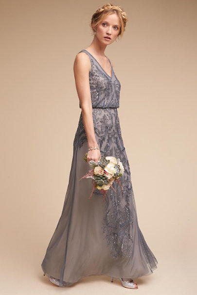 Adrianna Papell Pewter Aubrey Dress | BHLDN