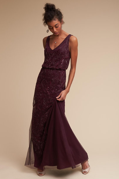 Adrianna Papell Deep Amethyst Aubrey Dress | BHLDN