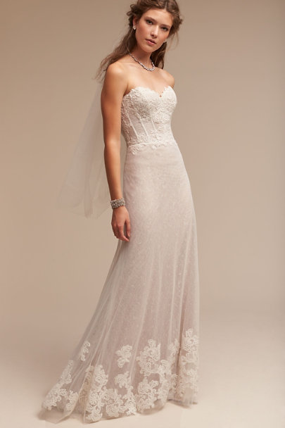 Watters Ivory/Champagne Lorena Gown | BHLDN