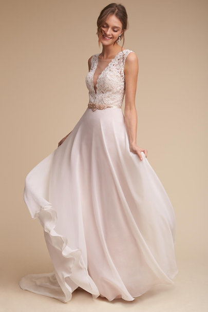 Taryn gown ivory blush in sale bhldn for Anthropologie beholden wedding dress