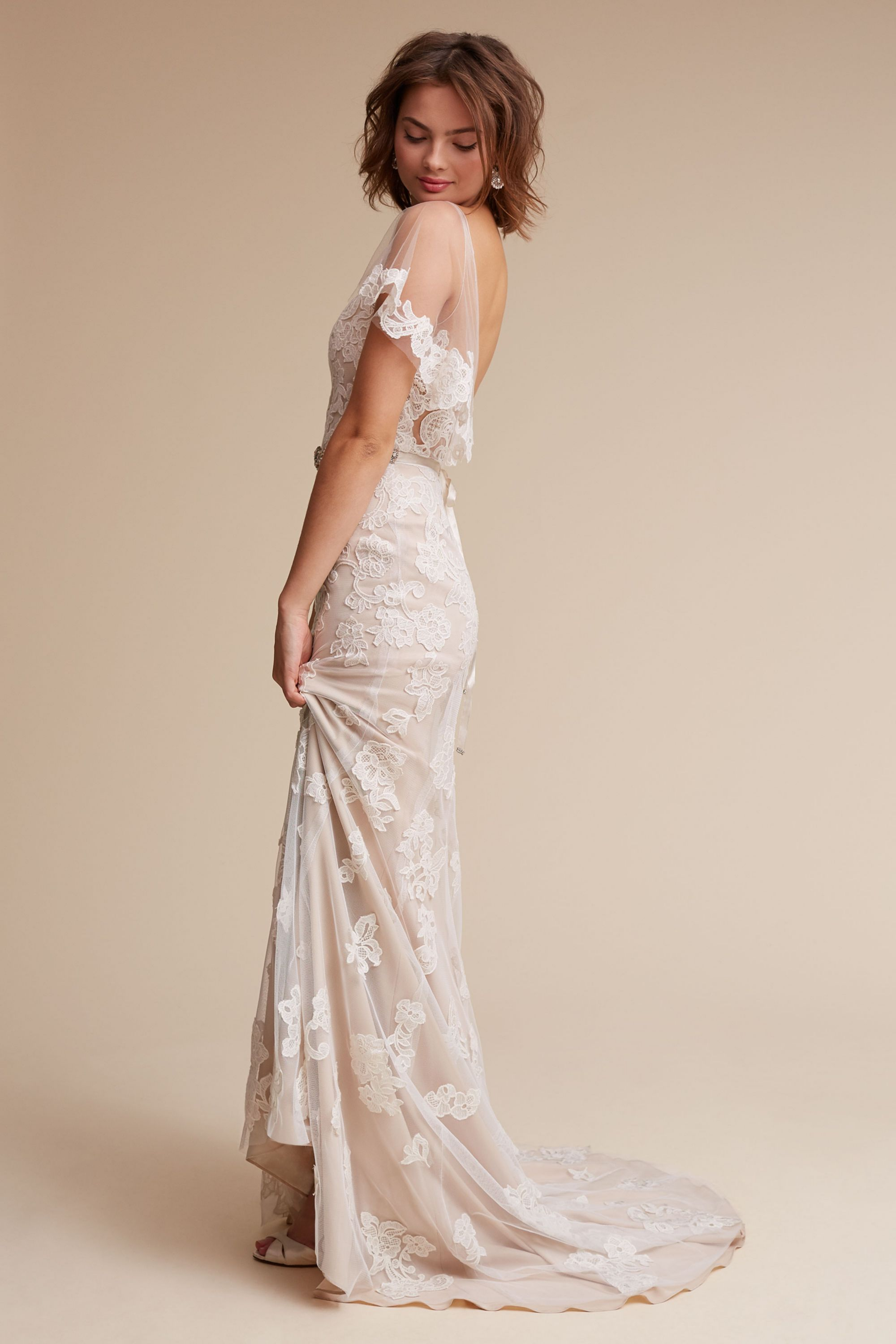 Wedding Wedding Gowns With Sleeves wedding dresses with sleeves long lace cap sleeve bhldn sierra gown gown