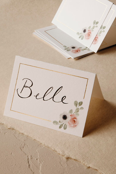 White Peeking Florals Place Cards (10) | BHLDN