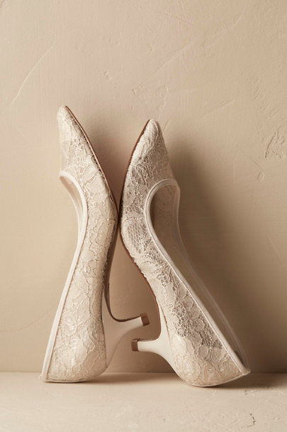 Adrianna Papell Ivory Darcy Lace Heels | BHLDN