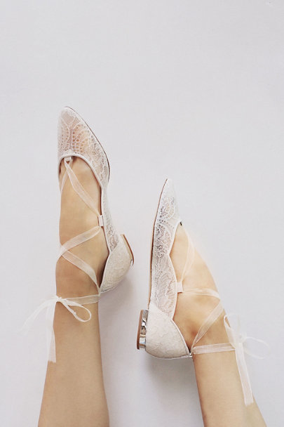 Harriet Wilde Ivory Marielena Lace Flats | BHLDN