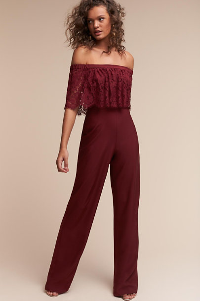 Theia Bridal Wine Mila Jumpsuit | BHLDN