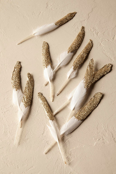 Gold Gilt Feather Confetti (10) | BHLDN