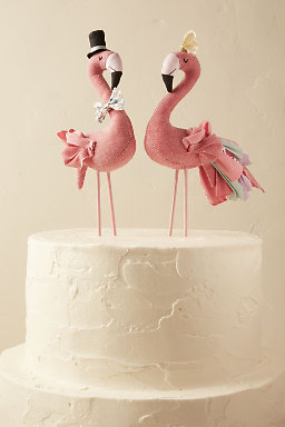 Mr. & Mrs. Flamingo Cake Topper (2)