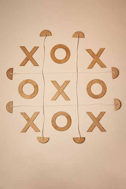 Brown Wooden Tic-Tac-Toe Game | BHLDN
