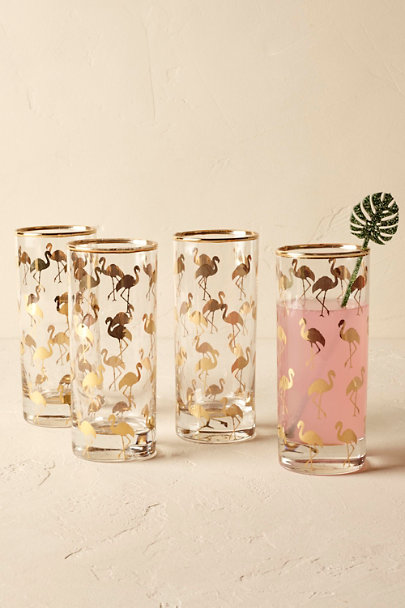 Gold Flamingo Glasses (4) | BHLDN