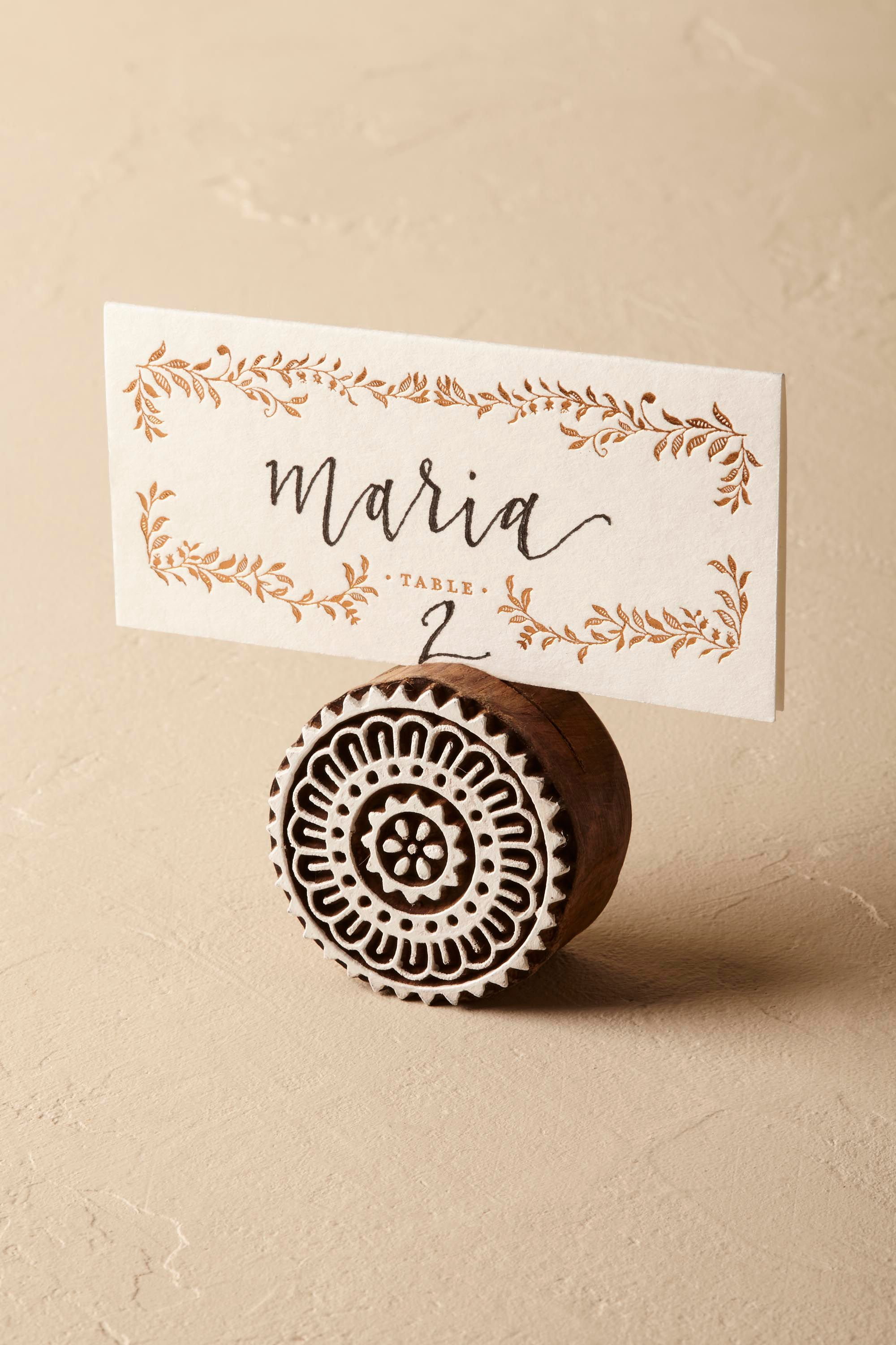 Woodblock Placecard Holder (6)