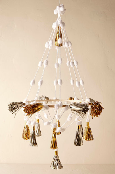 Gold Paper Tassel Chandelier | BHLDN