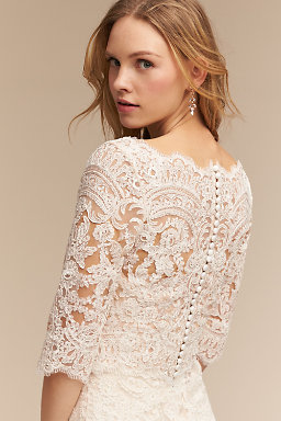 Wedding dress cover ups wedding boleros bhldn for Long sleeve wedding dress topper
