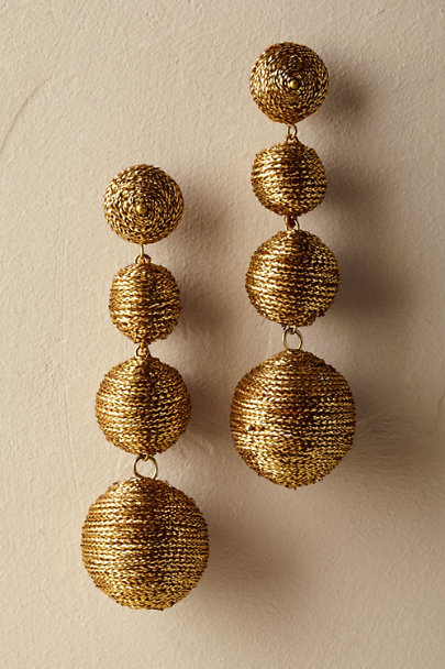 Kenneth Jay Lane Gold Dorena Bauble Earrings | BHLDN