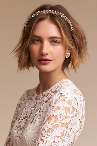 Untamed Petals Gold Collins Headband  | BHLDN