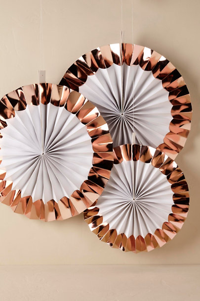 Copper Rose Gold Party Fans | BHLDN
