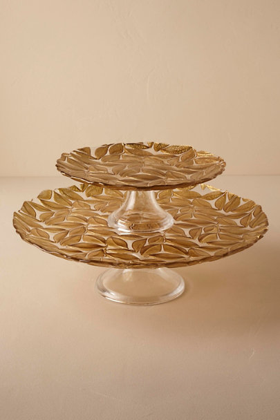 Gold Falling Leaves Cake Stand | BHLDN