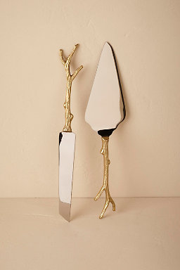 Gilded Branch Cake Serving Set