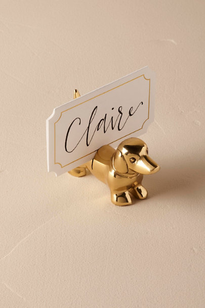 Gold Dachshund Card Holder  | BHLDN