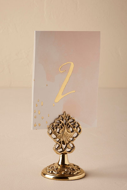Gold Golden Scroll Card Stand | BHLDN