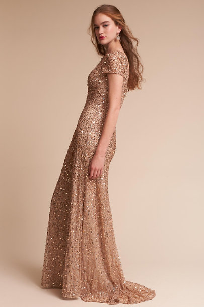 Adrianna Papell Champagne/Gold Lucent Dress | BHLDN