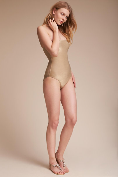 Gold Polonio One-Piece Swimsuit | BHLDN