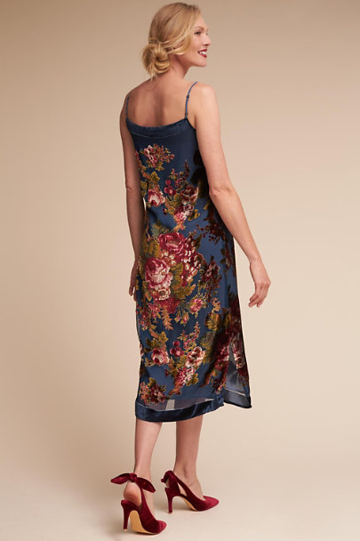 Blue Floral Carlson Burnout Velvet Dress | BHLDN