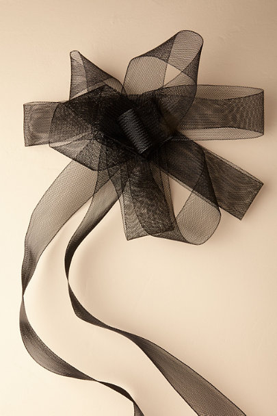 Madeleine Fig Black Horsehair Ribbon Sash | BHLDN