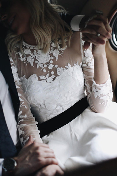 Madeleine Fig Black Fitted Velvet Sash | BHLDN