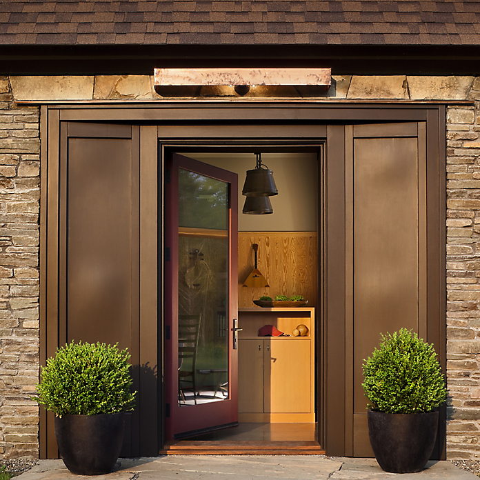 The Baldwin Lakeshore entryset graces the entrance of the Hudson Passive home.