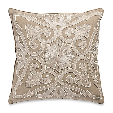 beaded damask aari embroidered square throw pillow bed. Black Bedroom Furniture Sets. Home Design Ideas