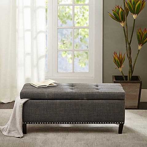 Madison Park Tessa Bench In Charcoal Bed Bath Amp Beyond